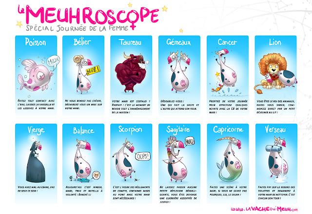 Horoscope de la vache qui meuh - dessins humoristiques spécial journée de la Femme