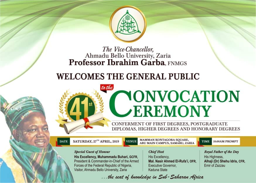 ABU 41st Convocation Ceremonies Programme Schedule of Event