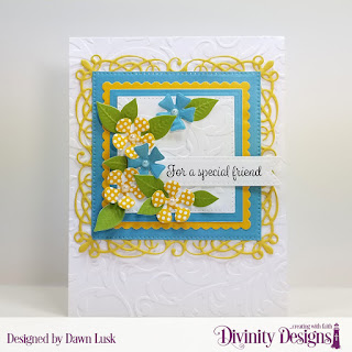 Divinity Designs Stamp Set: Treat Tag Sentiments 2, Custom Dies: Treat Tags, Flourishy Frame, Scalloped Squares, Squares, Pierced Squares, Bitty Blossoms, Bitty Blooms, Embossing Folder: Flourishes, Paper Collection: Birthday Brights