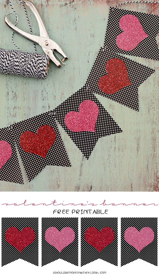Free Printable Valentine's Banner | Glitter embedded into the graphic makes it sparkly without the mess! | Instant Download | Print as many as you like for your desired banner length.