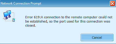 Error 619: A Connection to the Remote Computer could not be established, so the port used for this connection was closed