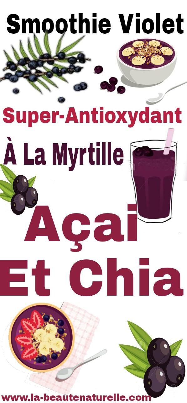 Smoothie violet super-antioxydant à la myrtille, açai et chia