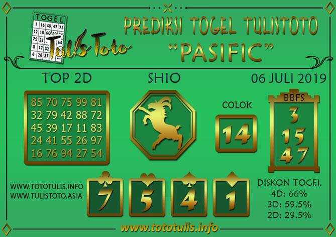 Prediksi Togel PASIFIC TULISTOTO 06 JULI 2019