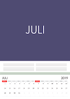 Simple Desain Kalender 2019 Indonesia bulan Juli beserta Hari Libur Nasional