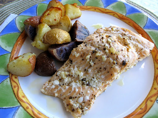 Marinated Steelhead Trout with Baked Potatoes