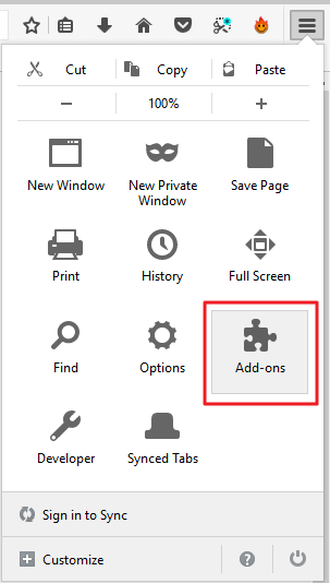 open firefox add-ons settings for activating flash