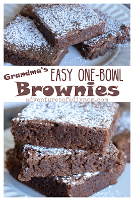 Try this easy one-bowl brownie recipe. You probably have all the ingredients on hand. This tried and true homemade brownie recipe was handed down to me by my Grandma. #brownies #chocolate #adventuresofadiymom #chocolatelovers #baking #homemadebrownies