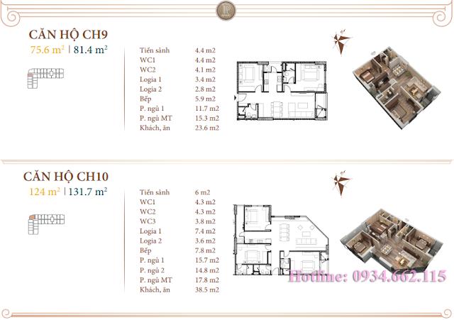 Loại hình căn hộ 09-10 tòa B1 Roman Plaza