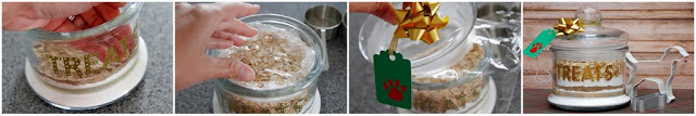 Filing a lass dog treat jar with dry ingredients for homemade dog treats