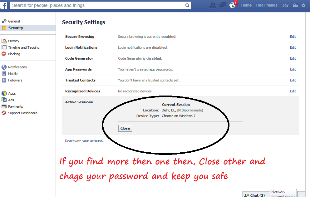 Logout facebook account on remote computer or mobile