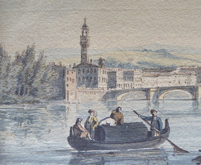 A watercolour of the Arno at Firenze looking towards the Ponte alla Carraia, by John Thomas Serres 1790.