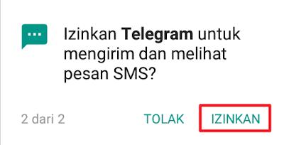 Izinkan Telegram untuk mengirim dan melihat pesan SMS?