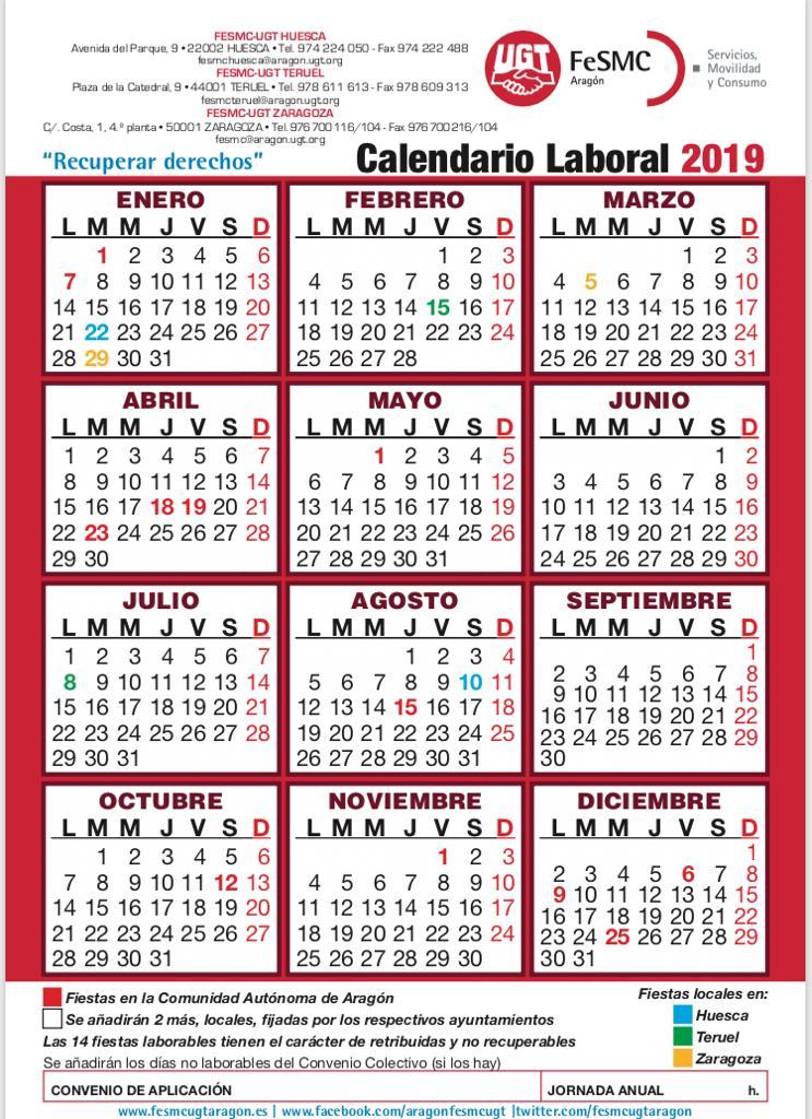 Calendario Escolar Aragon 2020.Ugt Supermercados Eroski Cecosa Picabo Zaragoza Aragon Calendario