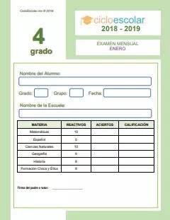 Examen Mensual Cuarto grado 2018-2019