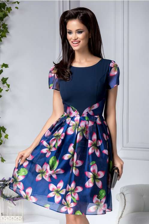 Rochie eleganta marime mare bleumarin clos cu flori roz