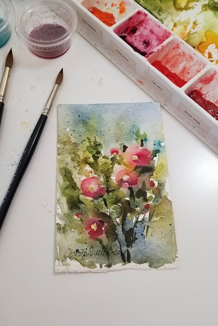 "Summer Blessings, a watercolor painting of hollyhocks 4""x6"" 2018 by Christy Sheeler"