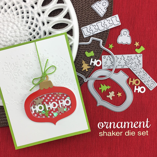 Ornament Card by Jennifer Jackson | Ornament Shaker Die Set and Snowflake Stencil by Newton's Nook Designs #newtonsnook #handmade