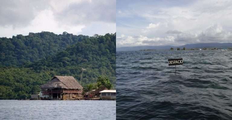 You Still Think Climate Change Is A Hoax These 20 Before-And-After Photos Will Leave You Speechless! - THE SAN BLAS ARCHIPELAGO IN PANAMA, 2002 AND 2014