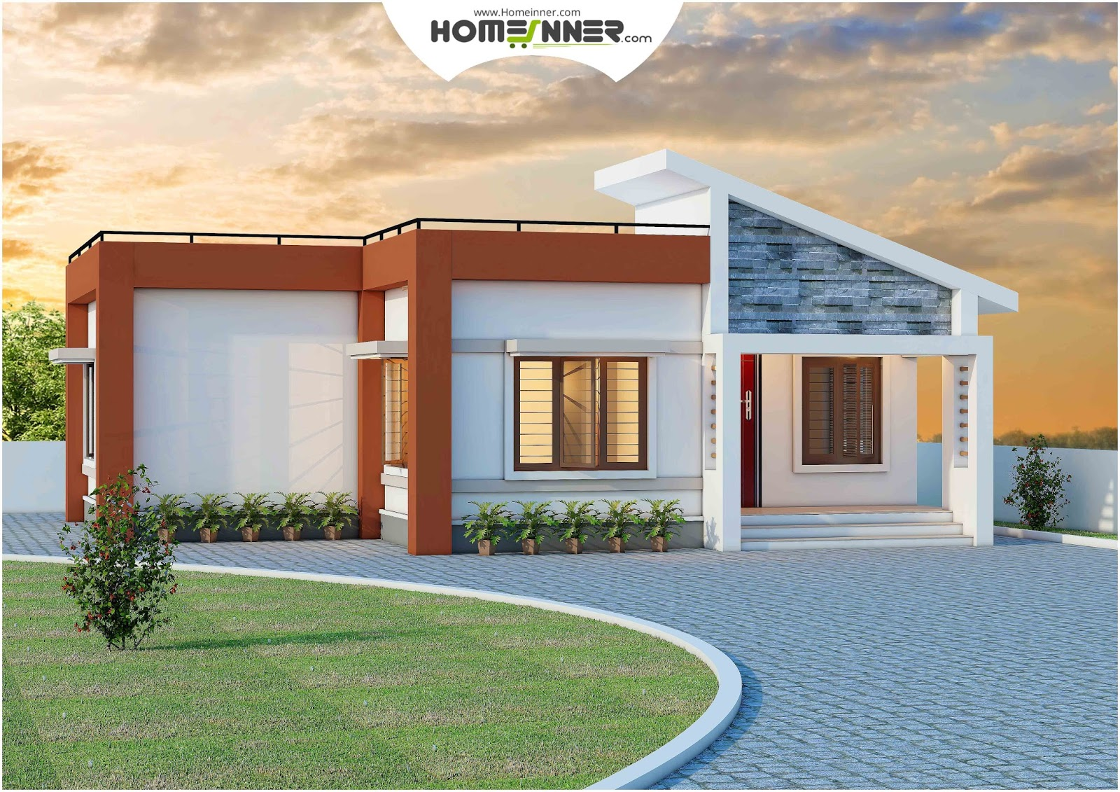 Single Floor 872 sq ft 2 Bhk Low cost Indian House design