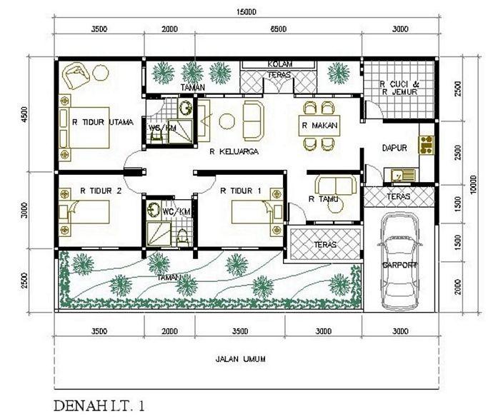 denah rumah minimalis 3 kamar tidur terlihat modern
