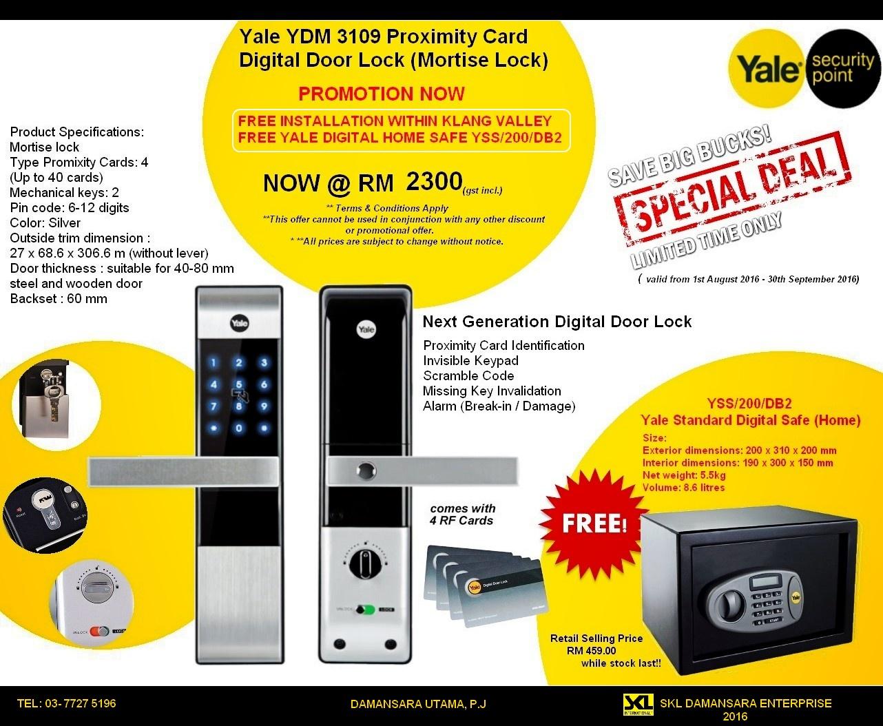 Yale YDM 3109 Proximity Card Digital Door Lock now RM 2300. Free installation!!!Free Yale Safe