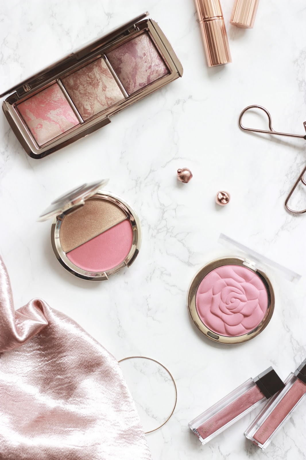 Hourglass Strobe Lighting Blusher, NYX ombre blush, milani rose blusher