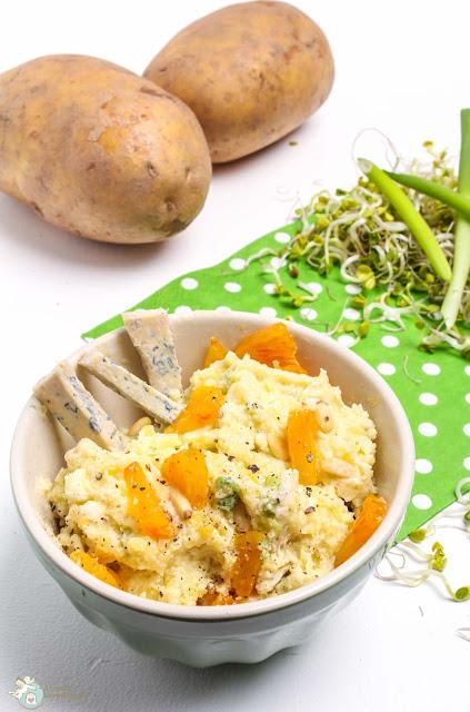Kartoffelbrei mit Blauschimmel und Orangen