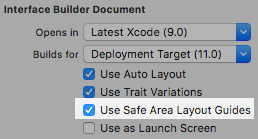 File inspector there simple check mark the use Safe Area Layout Guides.