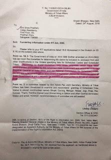 RTI Vindicates GJM Stand on gorkha tribal status