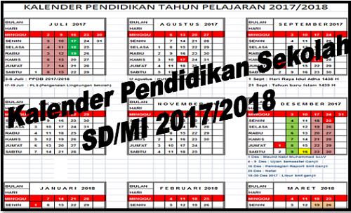 Kalender Pendidikan Sekolah SD/MI 2017/2018