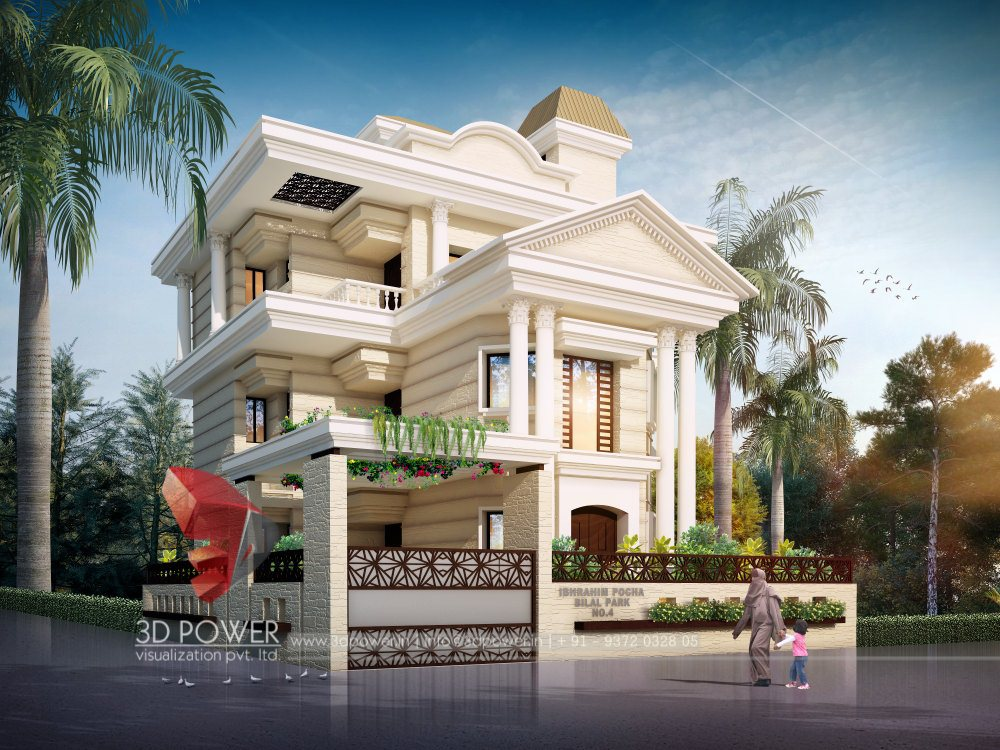 Residential towers row houses township designs villa for 3d elevation of bungalow