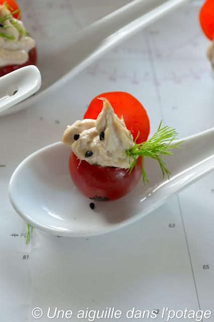 tomate cerise farcie tartare d'algue rillettes thon blanc Guyader