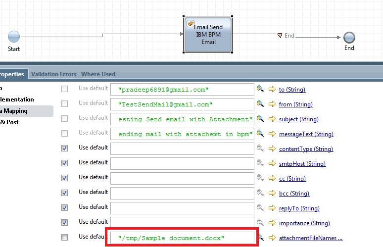 IBM BPM - Send an Uploaded File as an Attachment in Email