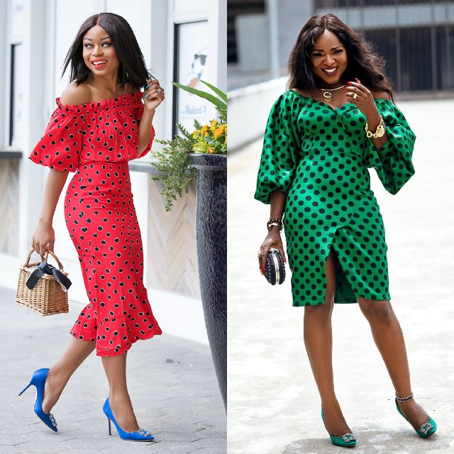 polka-dot trend,off shoulder, dress monochrome