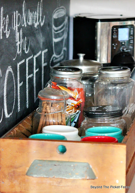 coffee, station, chalkboard, coffee sign, jars, mugs, old drawer, http://bec4-beyondthepicketfence.blogspot.com/2015/10/coffee-station.html