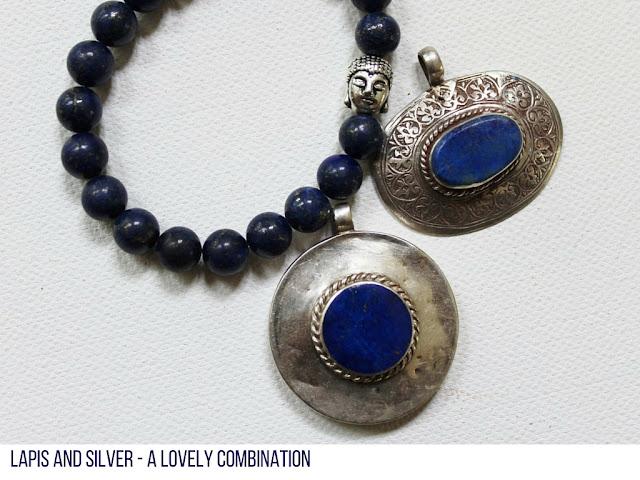 Lapis Lazuli pendants set in silver