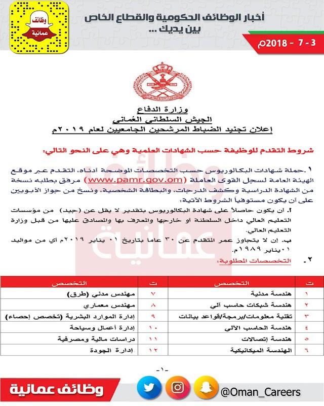 إعلان فتح باب تجنيد الضباط الجيش السلطاني العماني 2019