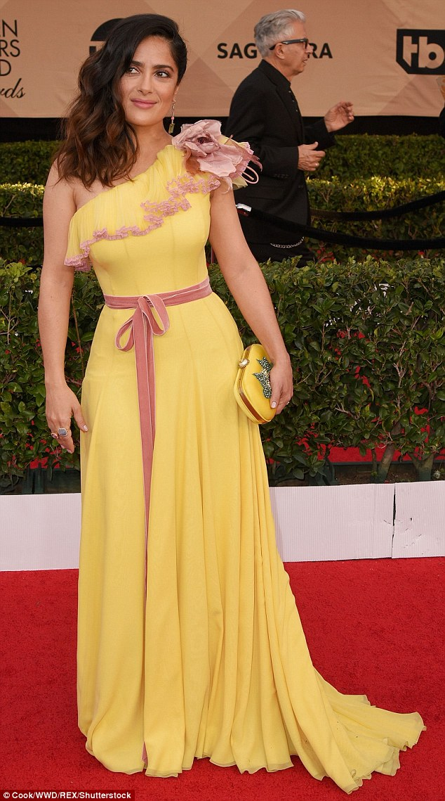 Salma Hayek opts for yellow gown with pink detailing and sash for SAG Awards