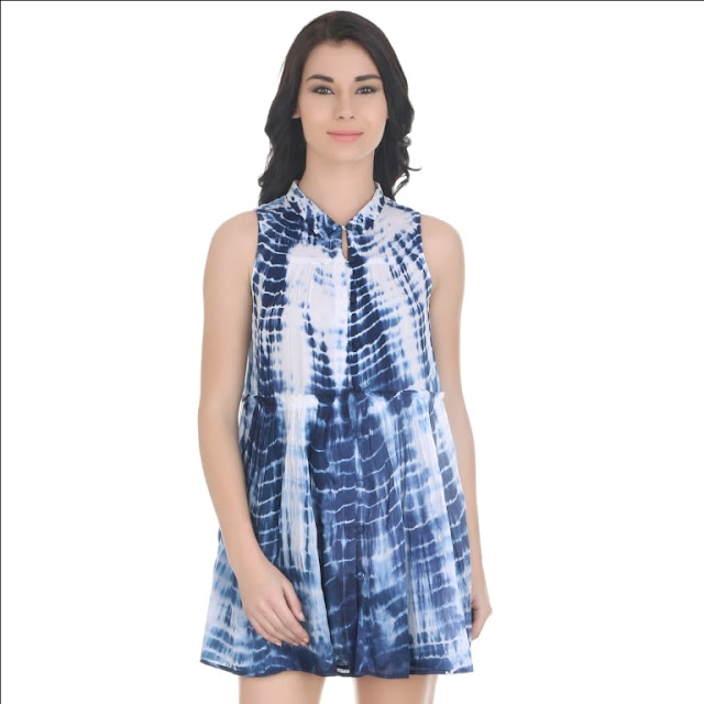 Cloud Dancer Tie And Dye Sleevess Collared Dress Shirt