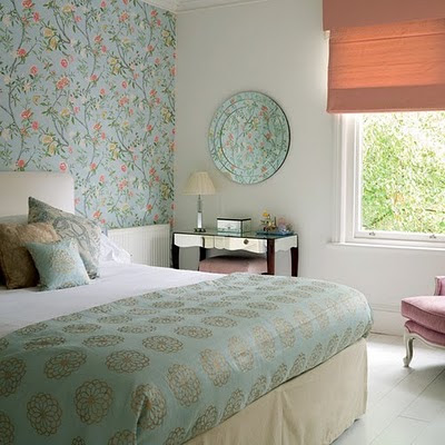 eclectic bedroom with floral wallpaper