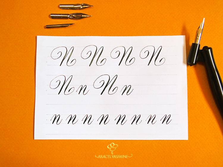 """Caligrafía copperplate, ¿cómo escribir la letra """"N""""?"""