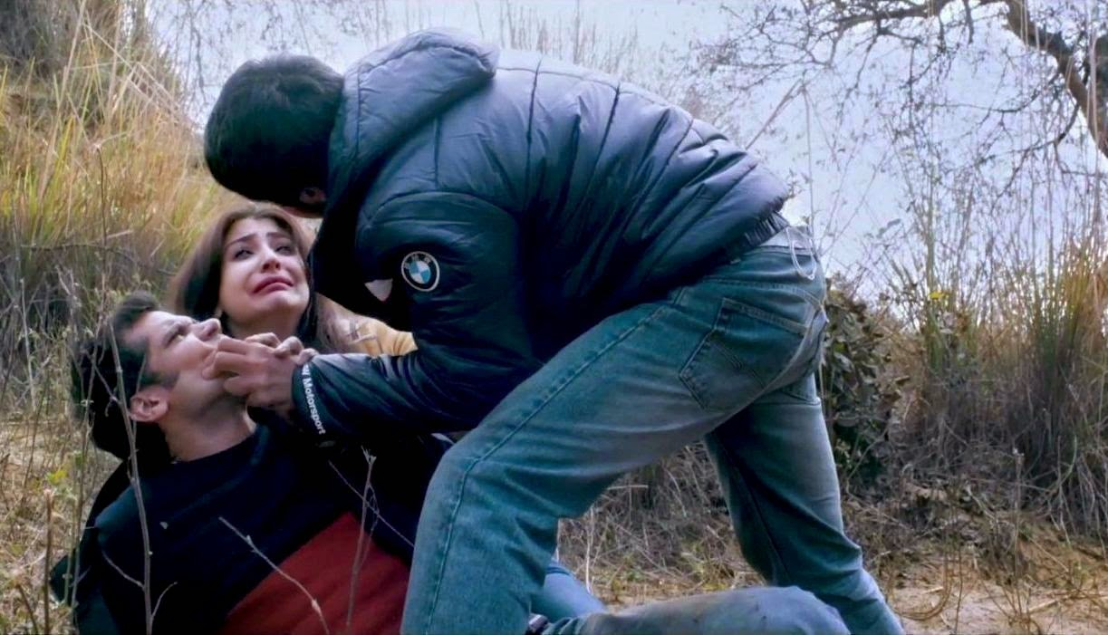 Anushka Sharma as Meera Neil Bhoopalam as Arjun, the couple gets assaulted by the village rogue, in NH10, Directed by Navdeep Singh