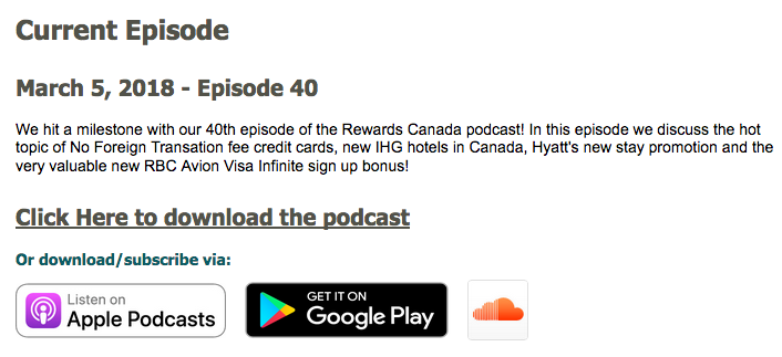 Rewards Canada: March 5 Update: Episode 40 of our Podcast