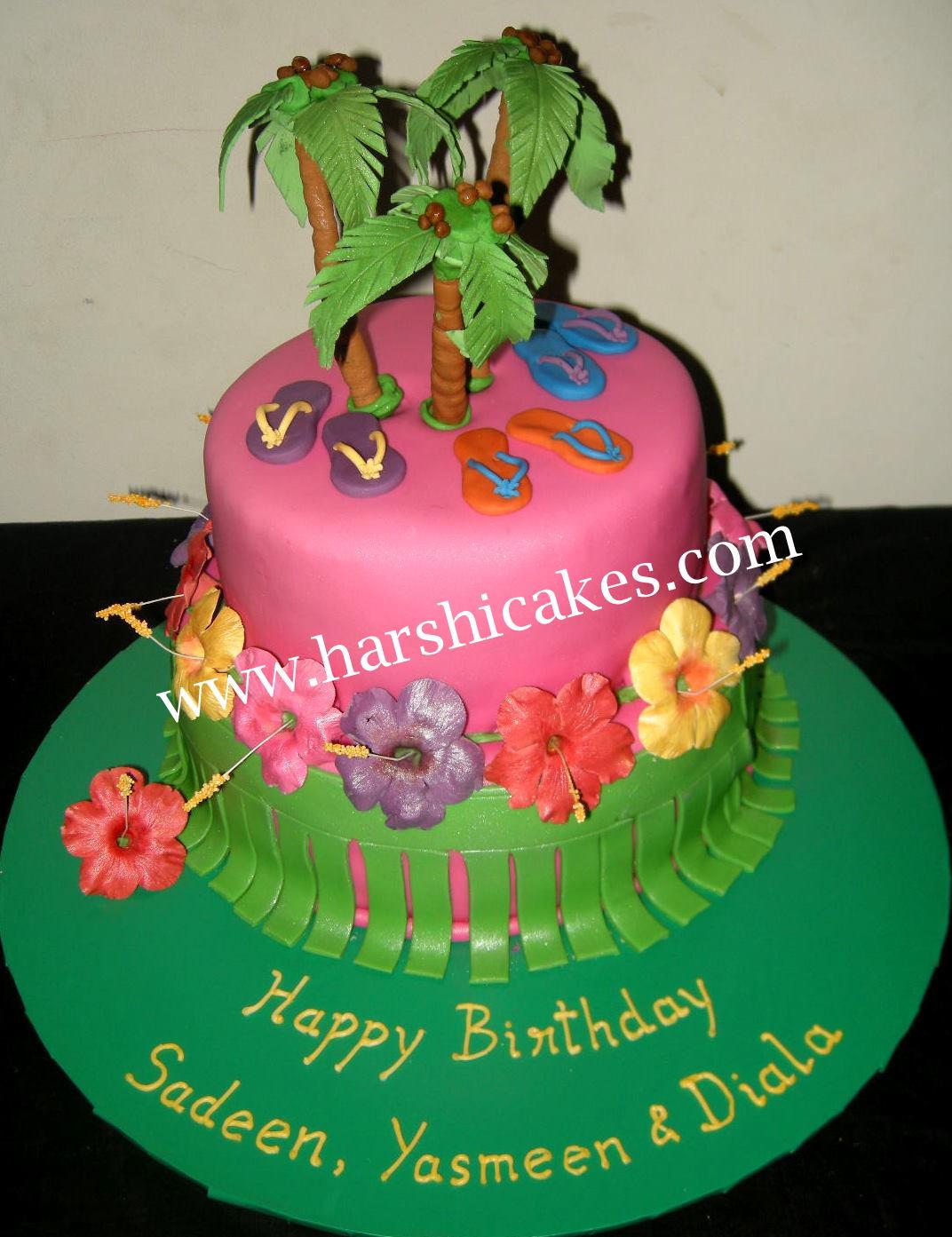 Harshi S Cakes Amp Bakes Hawaiian Theme Cake