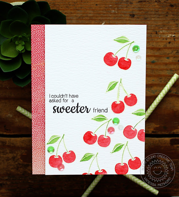 Sunny Studio Stamps: Fresh & Fruity Sweet Friend Cherries Watercolor Card by Vanessa Menhorn.