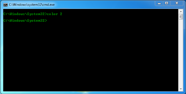 cmd with text color green