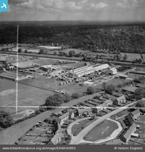 Photograph of The Dottridge Brothers Ltd Coffin Factory at Marshmoor, houses along Dixons Hill Road and environs,  Welham Green, from the south-west, 1952.  This image was marked by Aerofilms Ltd for photo editing. Original Britain From Above caption