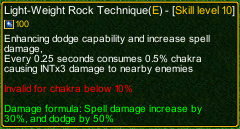 naruto castle defense 6.0 Light-Weight Rock Technique detail