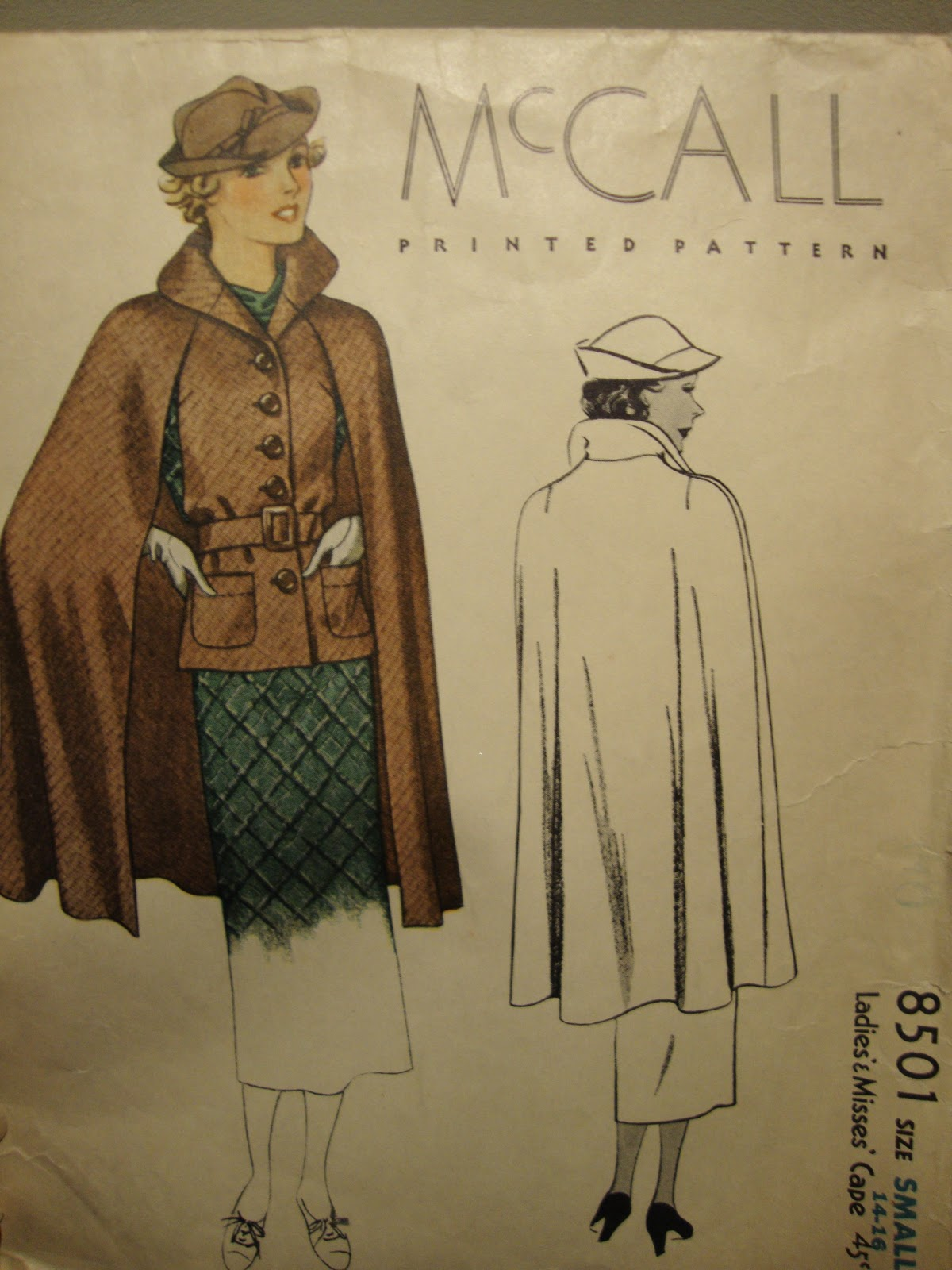 1930s cape pattern, McCall 8501