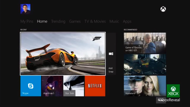 Image de l'interface XBOX one